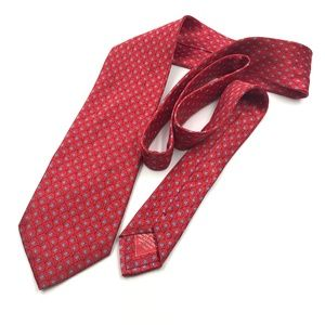 Brioni Red Flower dotted 100% Silk Neck Tie